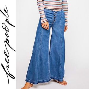 NWT FREE PEOPLE EXTREME WIDE LEG BUTTON FLY JEANS